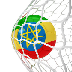 Ethiopian soccer ball inside the net