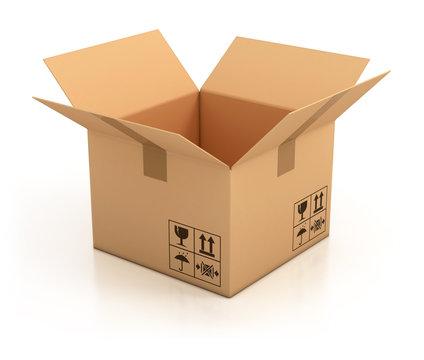 open empty cardboard box 3d illustration