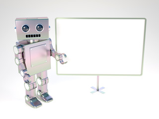 Old style robot at blank board