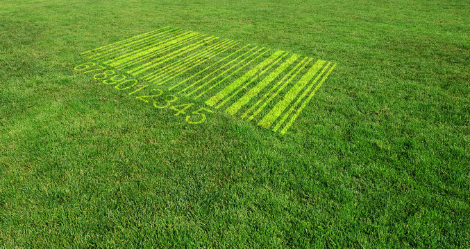 Shopping Bar Code on Green Lawn