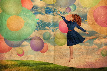 collage with beauty young woman, vintage