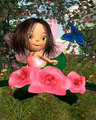 Baby Rose Fairy with Garden Background