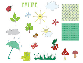Hand drawn elements of nature