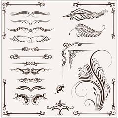 Kalligraphie, vector set, filigran, design elements