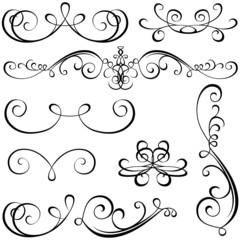 Calligraphic elements - black design elements,  illustration