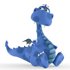 dino blue dragon baby sitting down