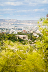 view on Athens and Temple of Hephaestus