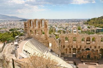 View of the theater Odeon from the Acropolis, Greece
