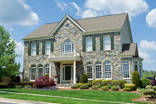 Stone Faced Single Family House Home Suburban MD
