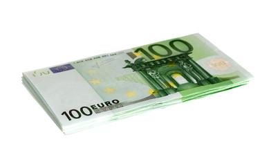 Stack of one hundred euro bills