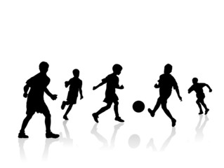 boys soccer players silhouette