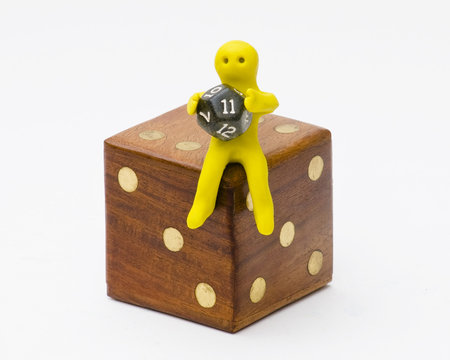 man with 12 sided dice