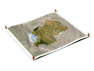 Rwanda on unfolded map sheet.