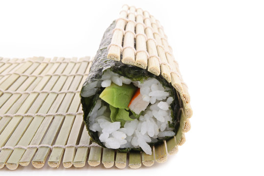 bamboo mat, rolling sushi maki