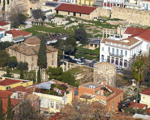 the roman forum  and old houses under Acropolis, Athens Greece