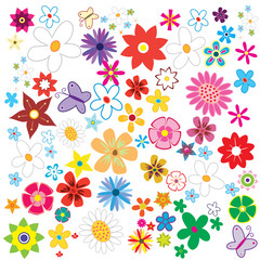 Beautiful spring set of flovers nature vector