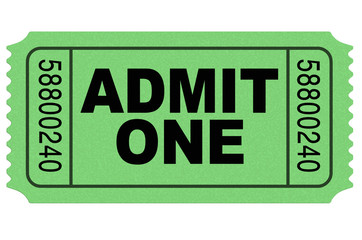 Admit one movie ticket green isolated on white environment