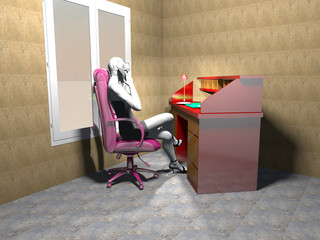 Home studio with beautiful woman -3D rendering