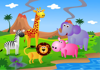 Poster Forest animals safari Africa