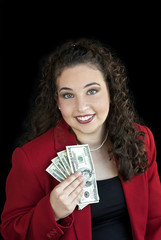 Business Woman Holding Money