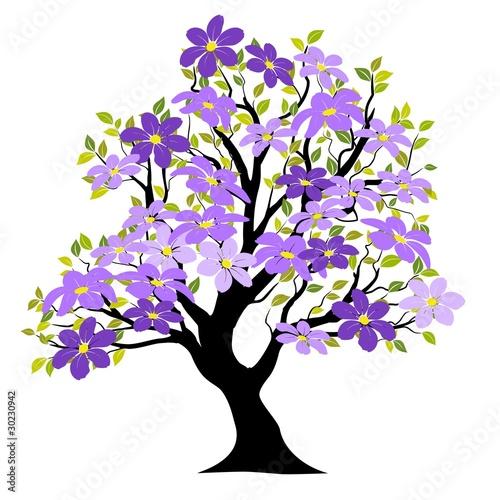 Printemps arbre vecteur fond blanc fleurs vectorielles fichier vectoriel libre de droits - Arbre fleurs rouges printemps ...