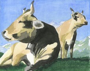 Mucche in montagna. Acquerello dipinto a mano.