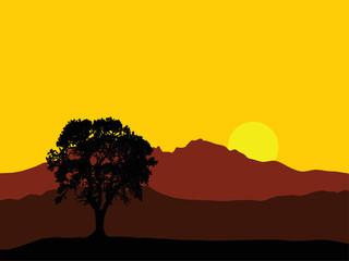 golden sunrise over high mountain peaks