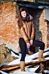 winter portrait of brunette girl