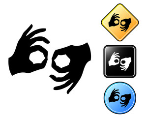 Sign language pictogram and signs