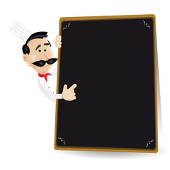 Chef Menu Holding A Wood Blackboard