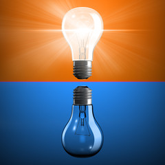 Opposite light bulbs as symbol of knowledge or energy or power