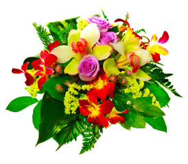 bouquet of lilias and roses isolated over white background