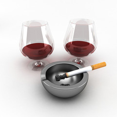 ashtray with a cigarette and a glass of wine