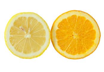 Orange and lemon slices over white