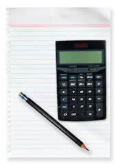 white paper line with Pencil and Calculator isolate