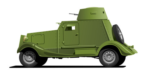 Fotorolgordijn Militair vintage armored car