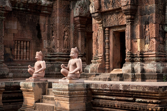 Statues at Banteay Srei of Angkor