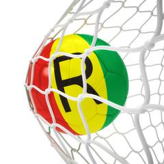 Rwandan soccer ball inside the net