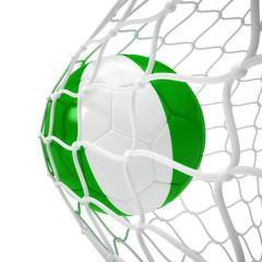 Nigerian soccer ball inside the net