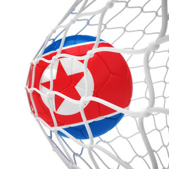 Korean soccer ball inside the net