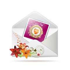 Envelope with lilies and photo with heart for Valentine's day