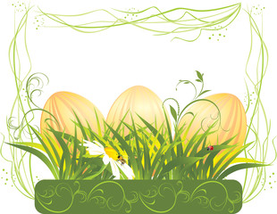 Easter eggs with grass and chamomile in the decorative frame