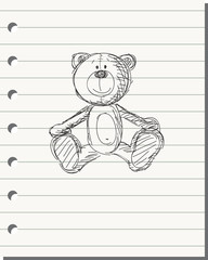 Hand drawn bear on the white paper