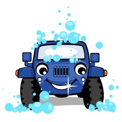 Off-road car on a carwash