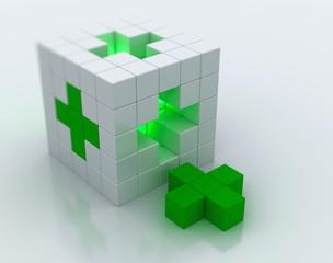 White cube green, cross symbol