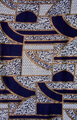 Blue tissue pattern with gold. Blue fabric pattern with gold
