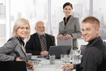 Portrait of smiling businessteam on meeting