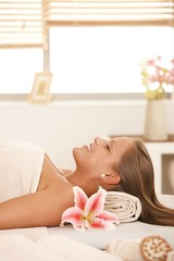 Attractive woman in day spa