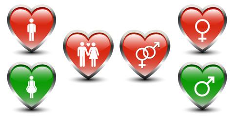 Heart Shape Male , Female & Gender Sign Icons