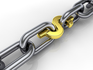 3d chain,golden dollar sign link ,group cohesiveness